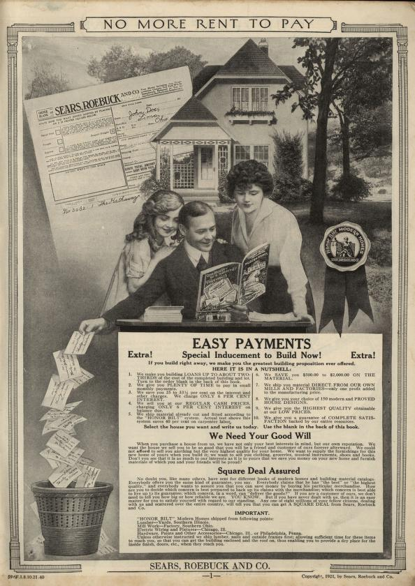 """Full-page ad for Sears kit houses, reading """"No more rent to pay."""""""