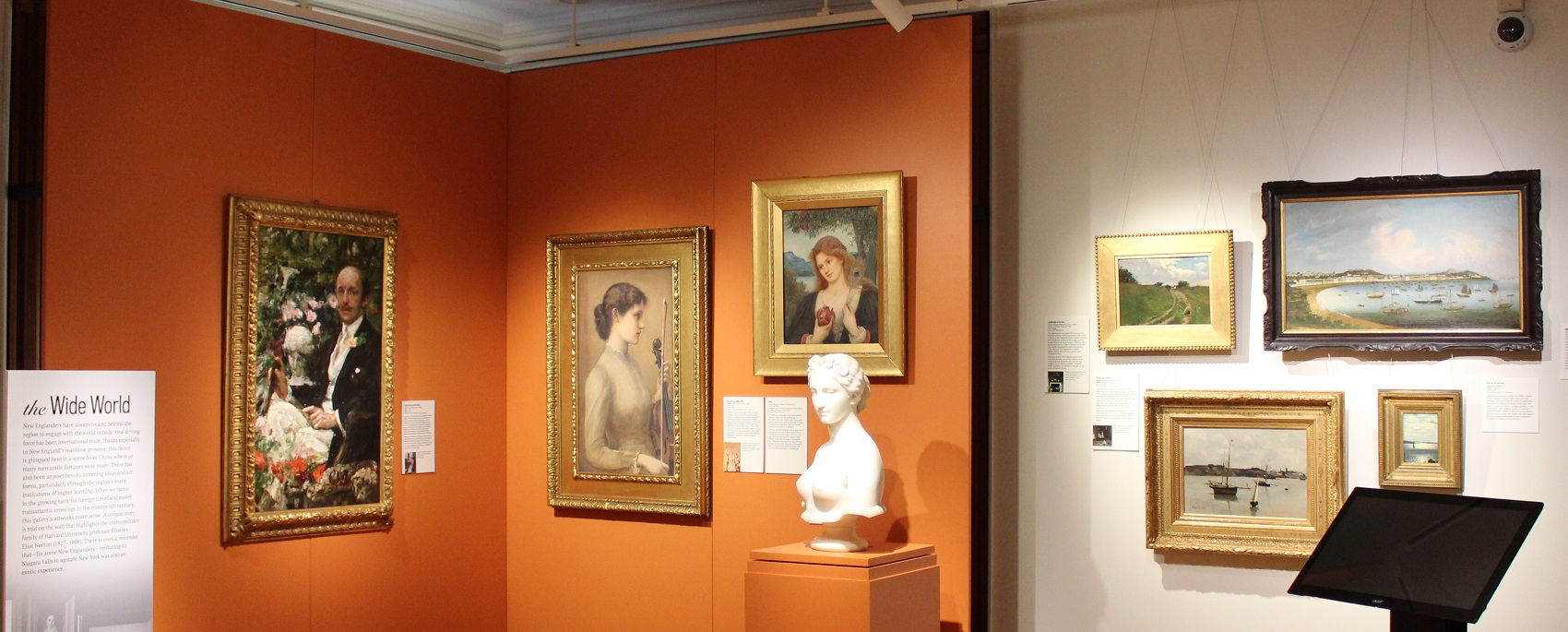 Paintings on display in a gallery at the Eustis Estate