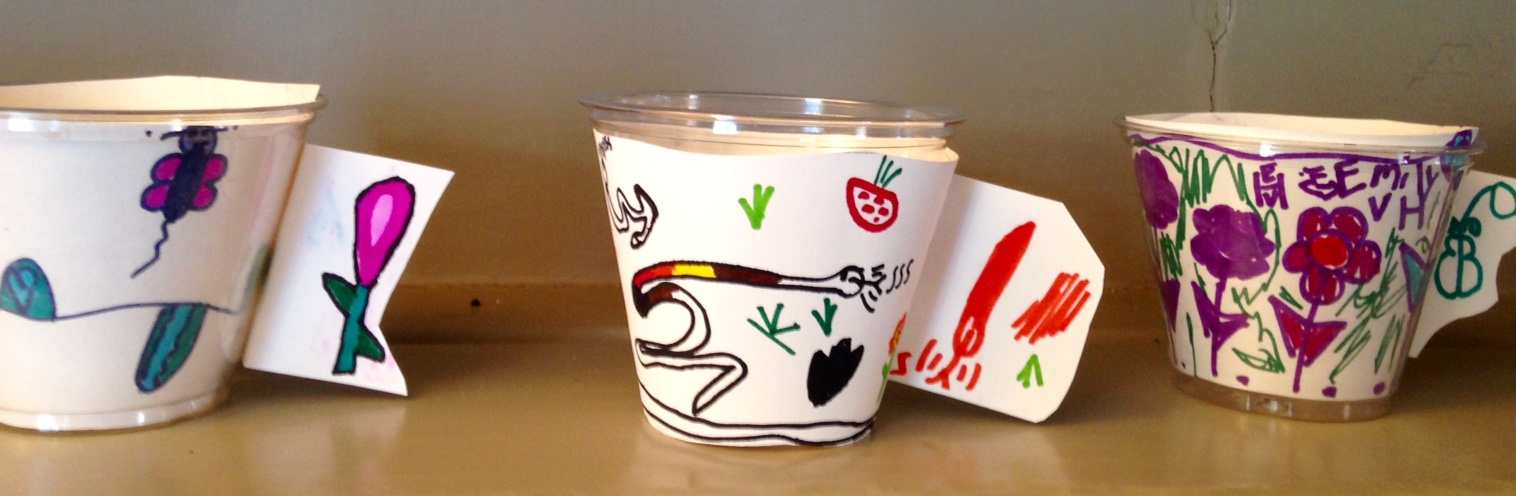 Three decorated cups