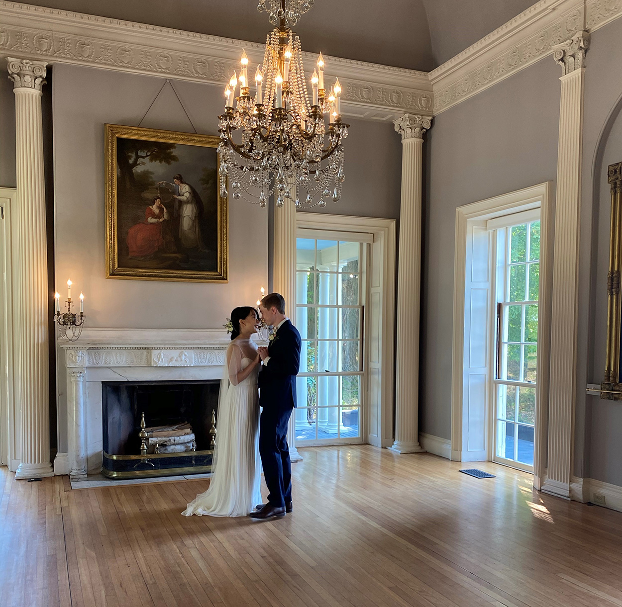Micro-wedding dance in Lyman Estate ballroom