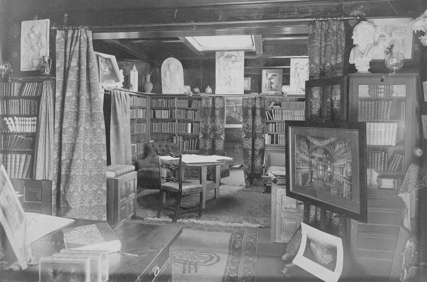 Interior view of H. H. Richardson's home office, Brookline, Mass.