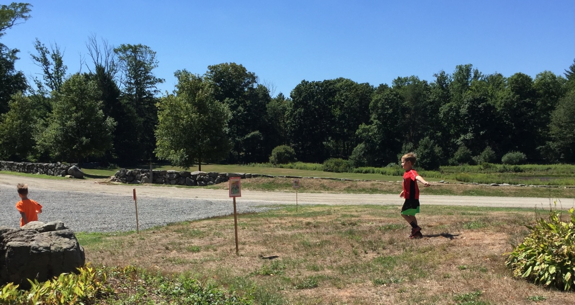 Two boys enjoy a StoryWalk on the grounds of the Codman Estate