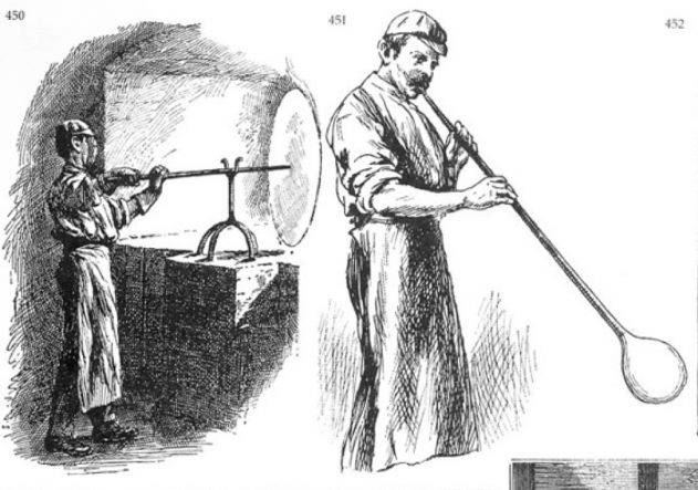 Drawing of craftsman blowing glass.