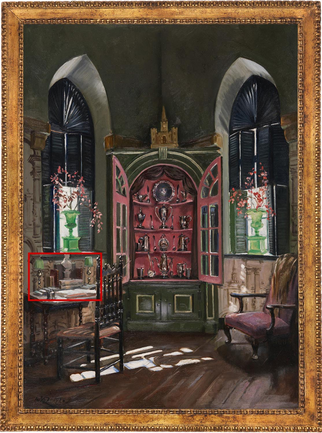 Painting of the Chapel Chamber in Beauport, the Sleeper-McCann House with a red box indicating two lamps on a desk.