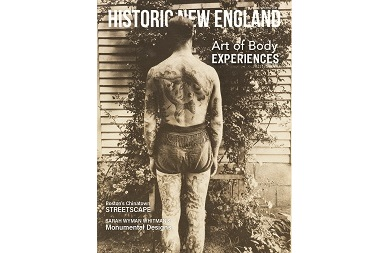 Cover of the Winter 2021 issue of Historic New England magazine, featuring items from Derin Bray's tattoo collection