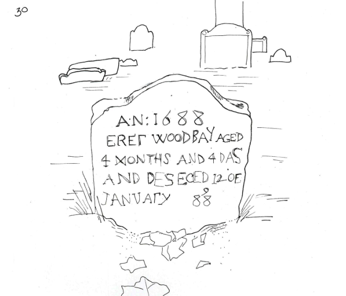 Drawing of a headstone in Beverly Cemetery.