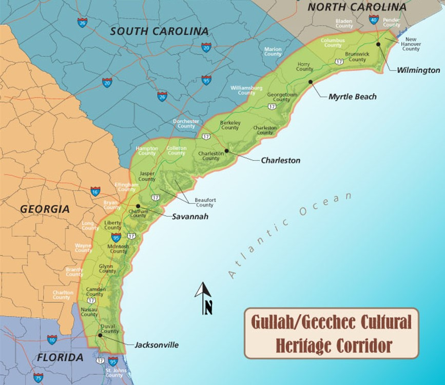 Map of the southeastern coast of the United States, from southern North Carolina down through northern Florida. The coast is highlighted in green to show the Gullah/Geechee Cultural Heritage Corridor.