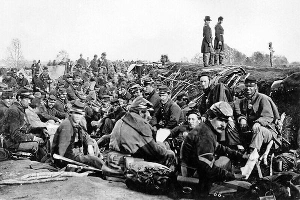 Union soldiers entrenched along the west bank of the Rappahannock River at Fredericksburg, Virginia