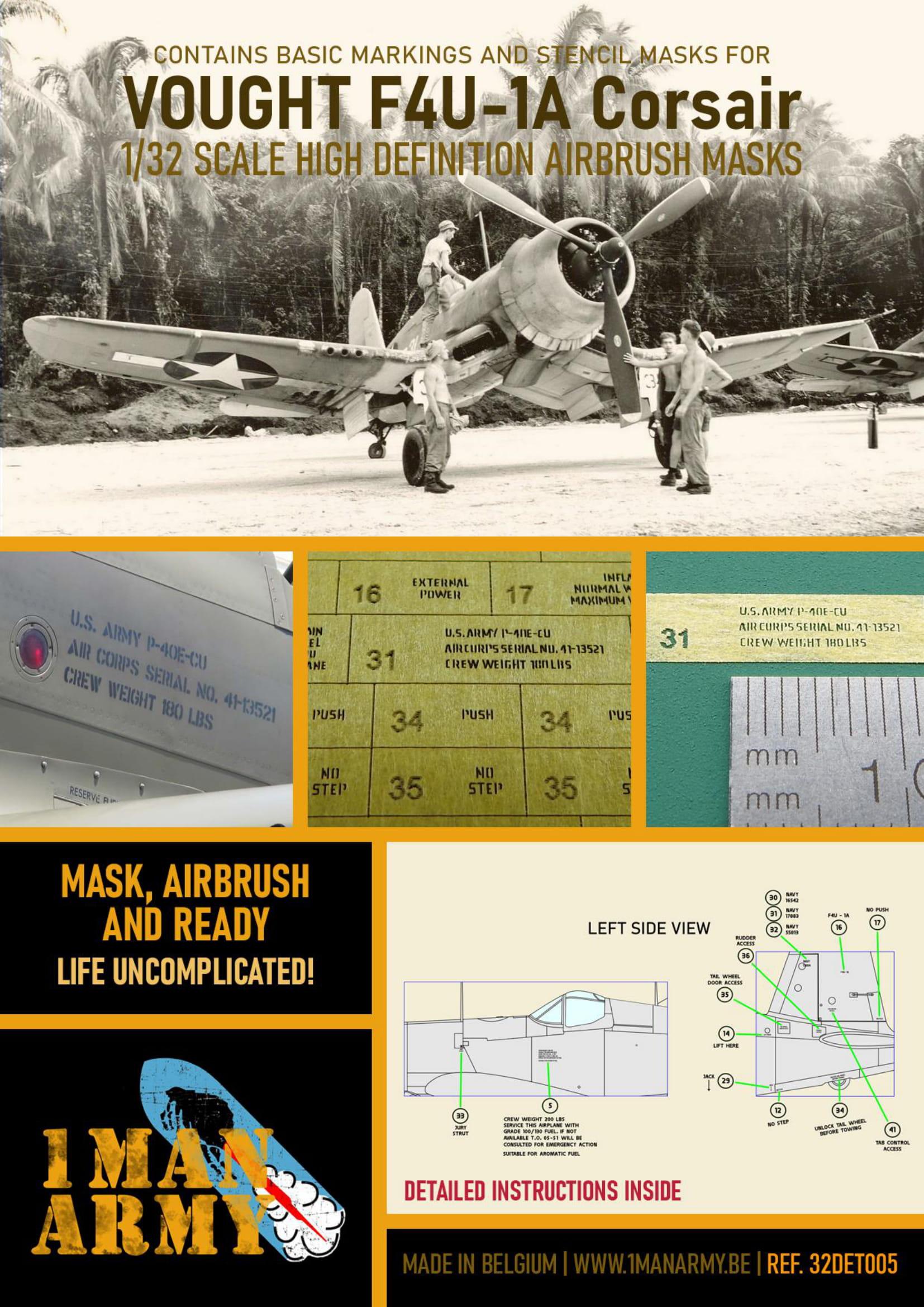 1ManArmy 1/32 F4U-1A Corsair Airbrush Paint Mask