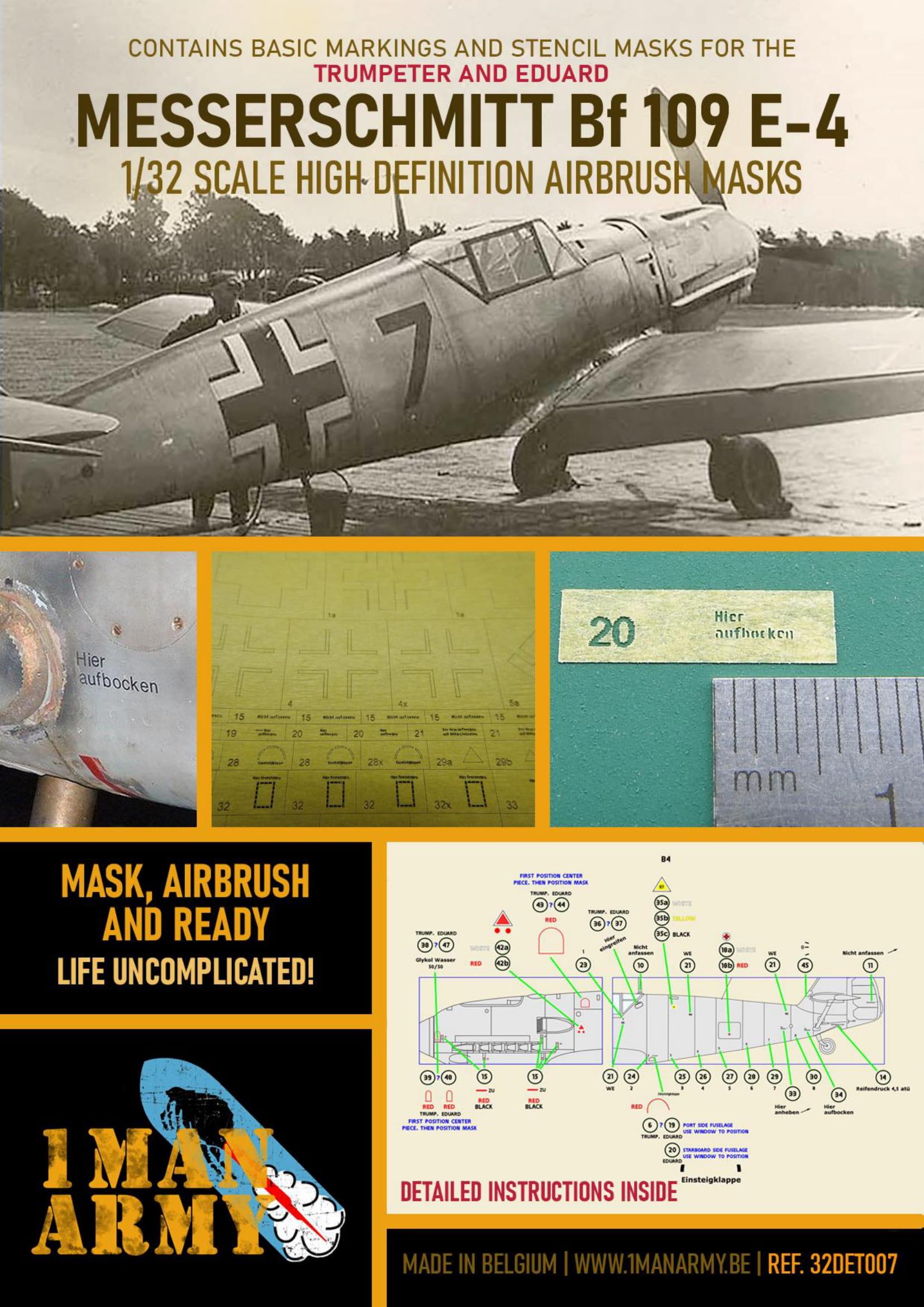 1ManArmy 1/32 Messerschmitt Bf 109 E4 Airbrush Paint Mask