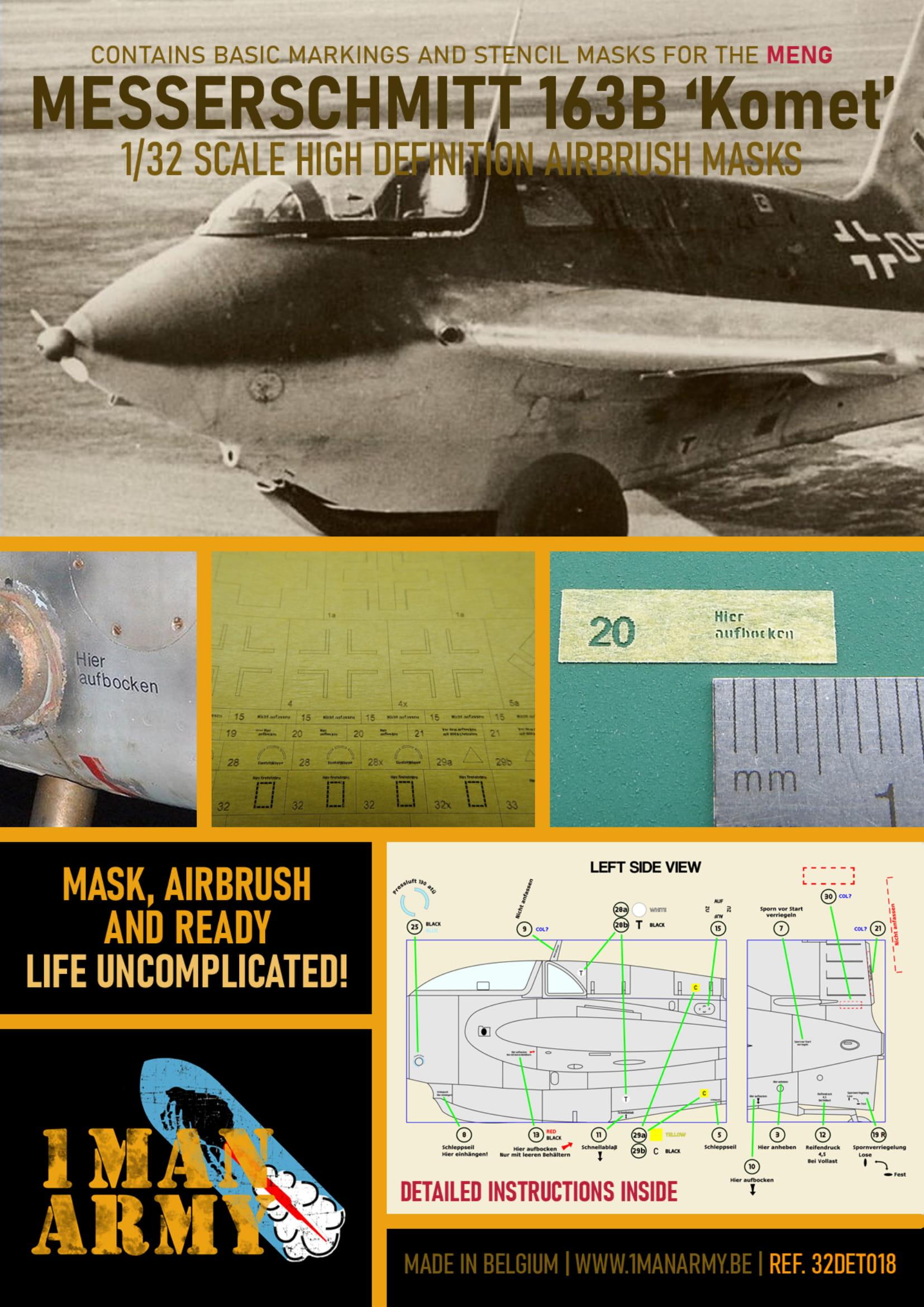 1ManArmy 1/32 ME 163B Komet Airbrush Paint Mask