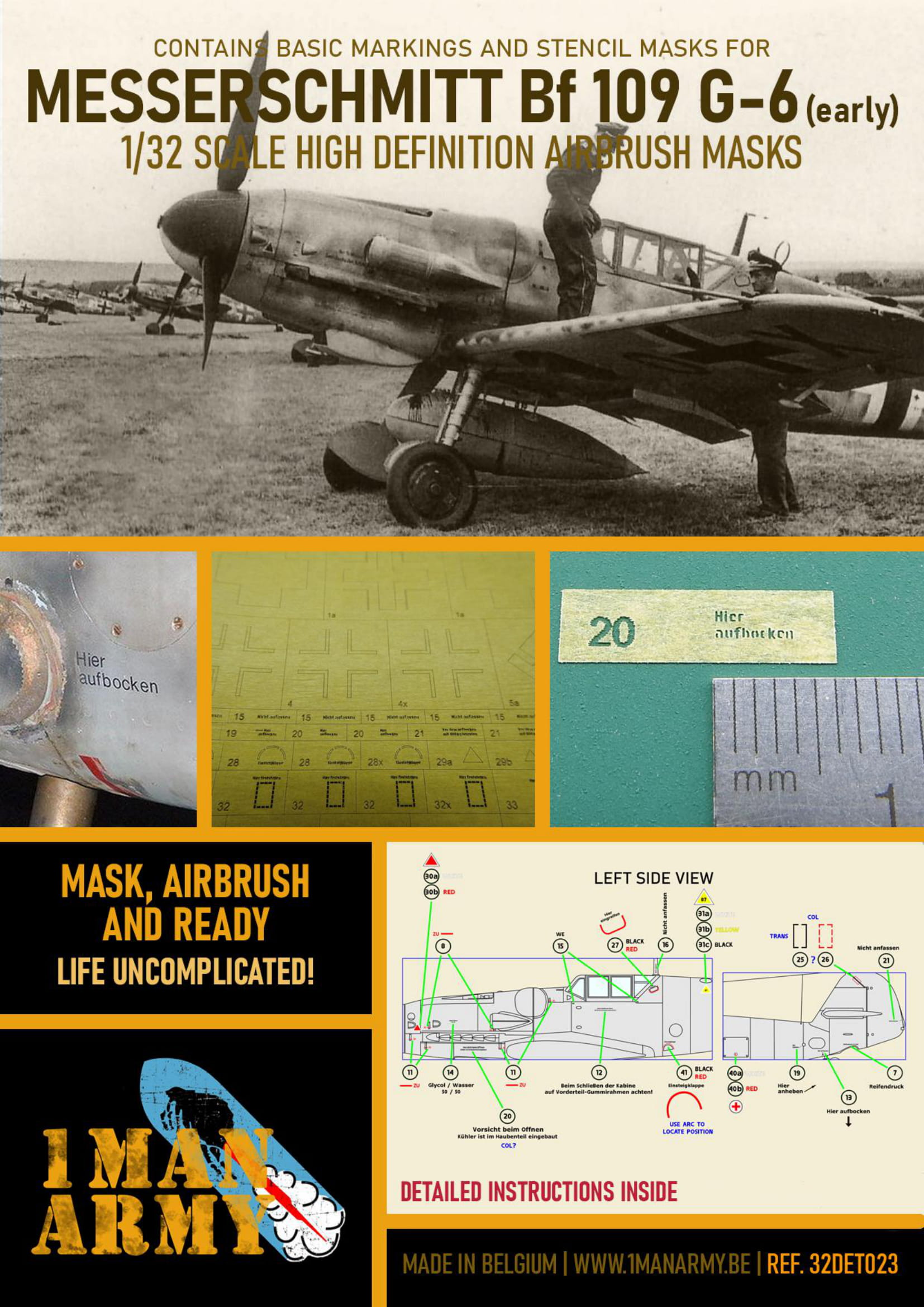 1ManArmy 1/32 Bf 109 G-6 Early Airbrush Paint Mask