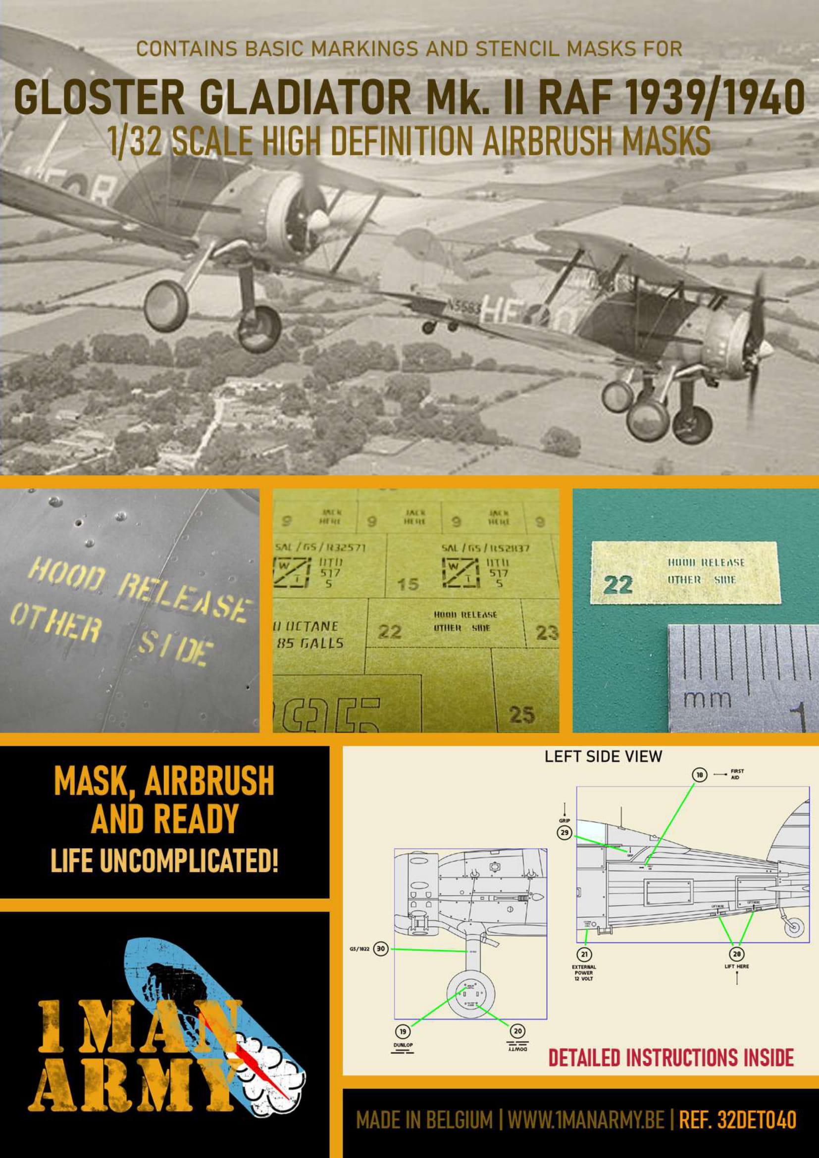 1ManArmy 1/32 Gloster Gladiator Mk.II RAF Airbrush Paint Mask