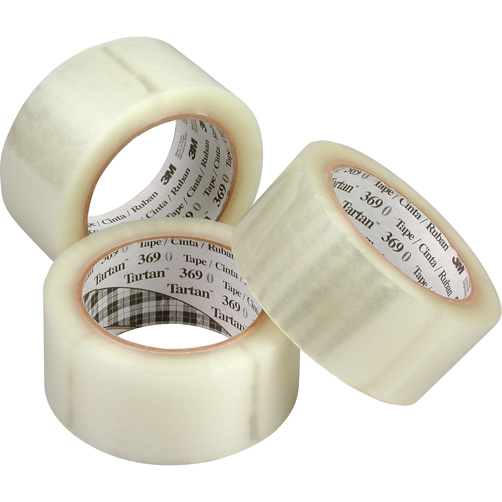 "3M Acrylic Adhesive Tartan 369 Box Sealing Tape, 1.6 mils, 48 mm (1-22/25"") x 100 m (328'), 1 Count"