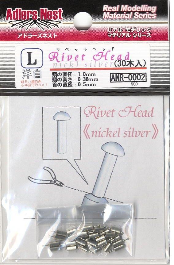 Adlers Nest Rivet Head 1.0mm, L, Nickel Silver (30 pcs)