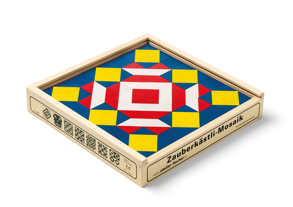 Atelier Fischer Magic Box Mosaic Wooden Cube Puzzle, 64 pcs, Made in Switzerland
