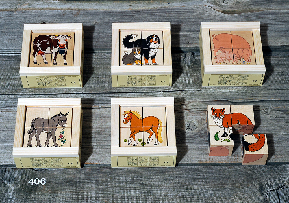 Atelier Fischer Magic Box Mosaic Wooden Cube Puzzle, 4 large pcs, - Donkey, Fox, Dog, Cow, Horse, Pig, Made in Switzerland