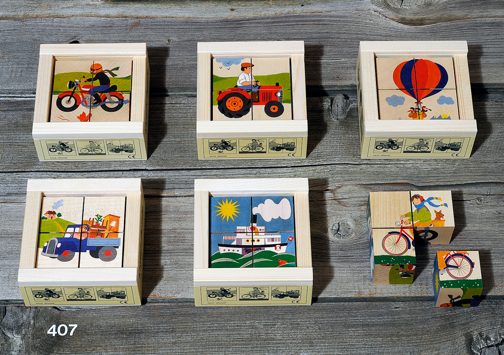 Atelier Fischer Magic Box Mosaic Wooden Cube Puzzle, 4 large pcs, - Tractor, Air Ballon, Ship, Motorcycle, Bicycle, Truck, Made in Switzerland