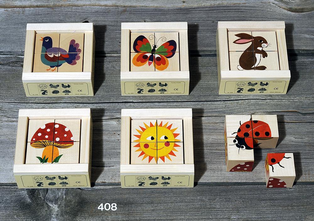 Atelier Fischer Magic Box Mosaic Wooden Cube Puzzle, 4 large pcs, - Sun, Butterfly, Bird, Rabbit, Ladybug, Mushroom, Made in Switzerland