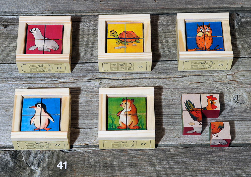 Atelier Fischer Magic Box Mosaic Wooden Cube Puzzle, 4 small pcs, - Turtle, Rooster, Penguin, Sea Lion, Bear, Owl, Made in Switzerland