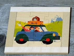 Atelier Fischer Magic Box Mosaic Flat Puzzle Family Trip, 9 pcs, Made in Switzerland