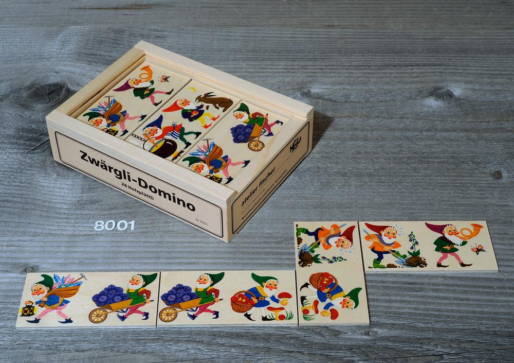 Atelier Fischer Magic Box Mosaic Wooden Flat Dwarf Domino, 28 pcs, Made in Switzerland