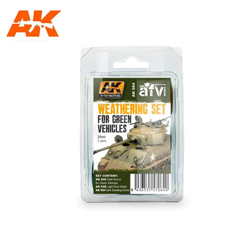 AK Interactive Green Vehicles Weathering Set