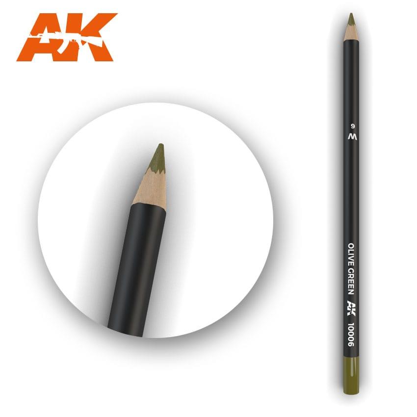 AK Interactive Watercolor Pencil Olive Green (Box - 5 Units)
