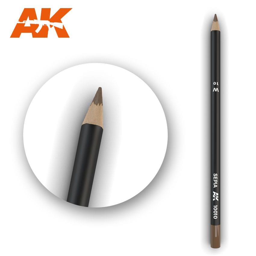 AK Interactive Watercolor Pencil Sepia (Box - 5 Units)