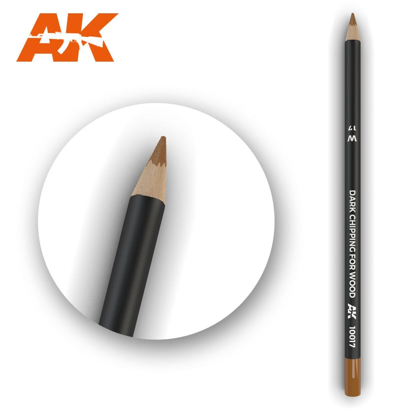 AK Interactive Watercolor Pencil Dark Chipping For Wood (Box - 5 Units)