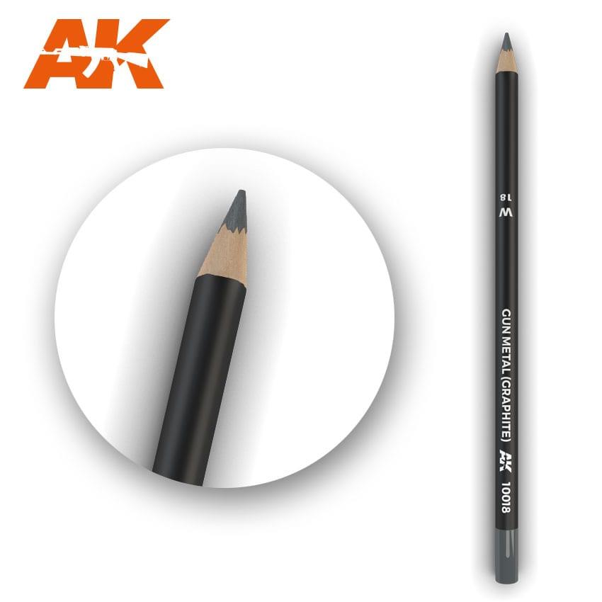 AK Interactive Watercolor Pencil Gun Metal (Graphite) (Box - 5 Units)