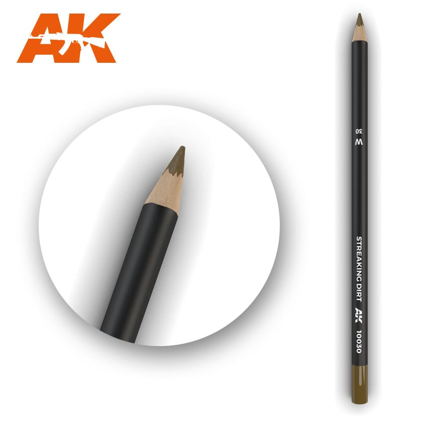 AK Interactive Watercolor Pencil Streaking Dirt (Box - 5 Units)