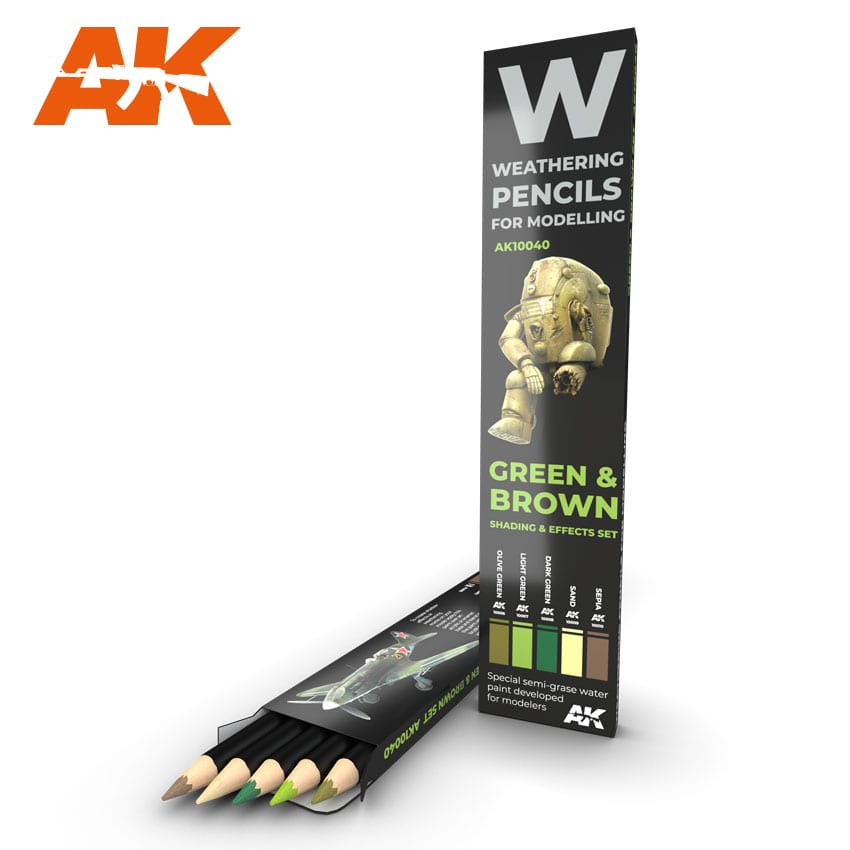 AK Interactive Weathering Pencil Set - Green and Brown Camouflages