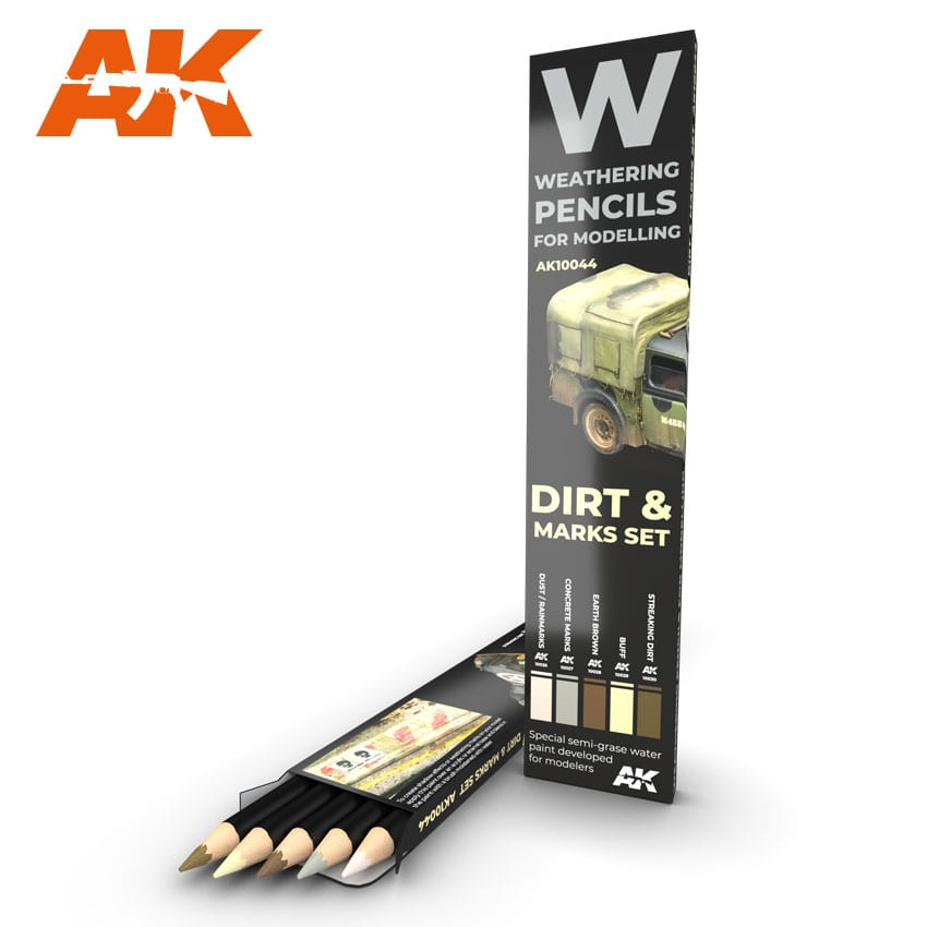 AK Interactive Watercolor Pencil Set Splashes, Dirt And Stains
