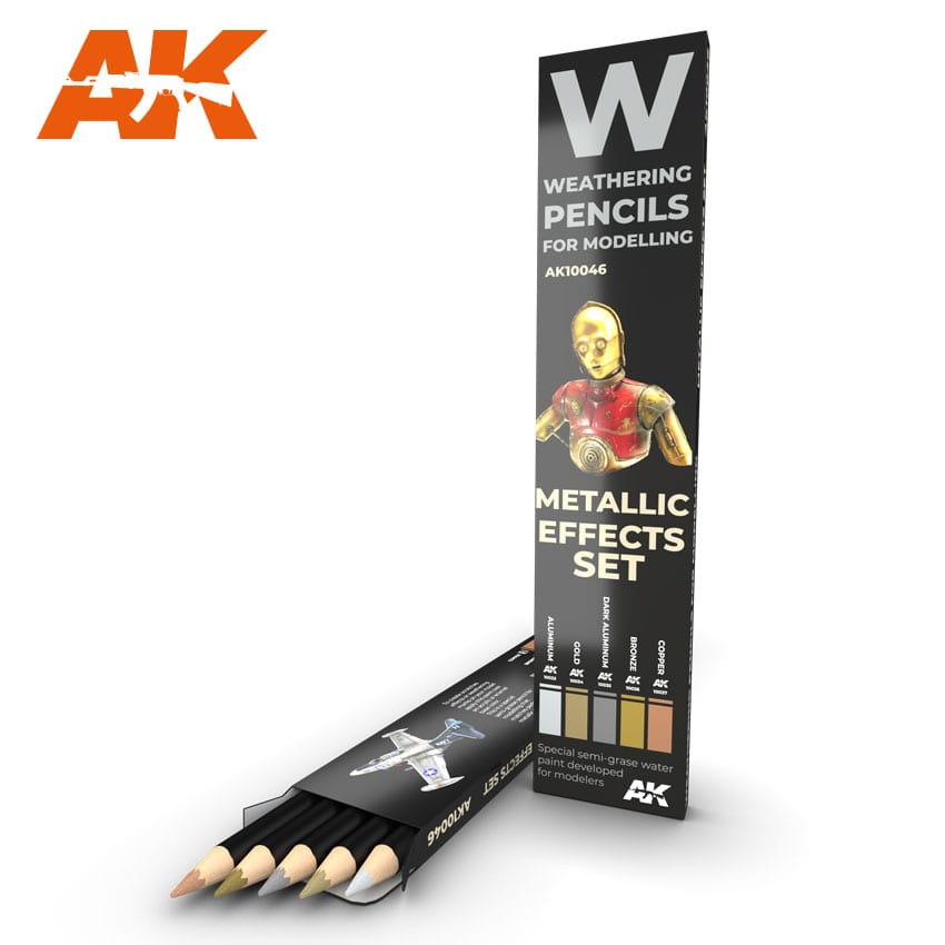 AK Interactive Watercolor Pencil Set Metallics