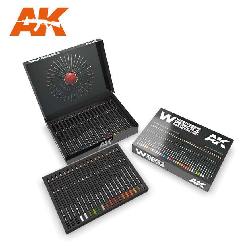 AK Interactive Weathering Pencils Deluxe Edition Box (37 Waterpencil Colors)