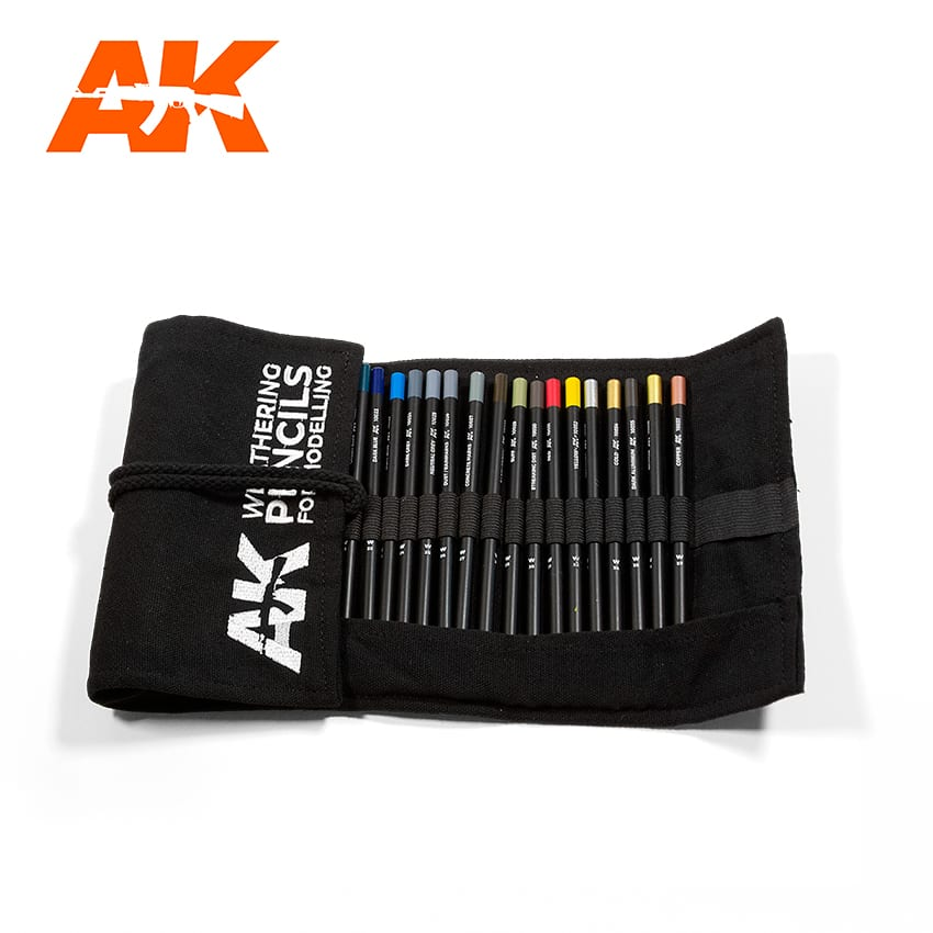 AK Interactive Weathering Pencil Full Range Cloth Case (All 37 Colours)