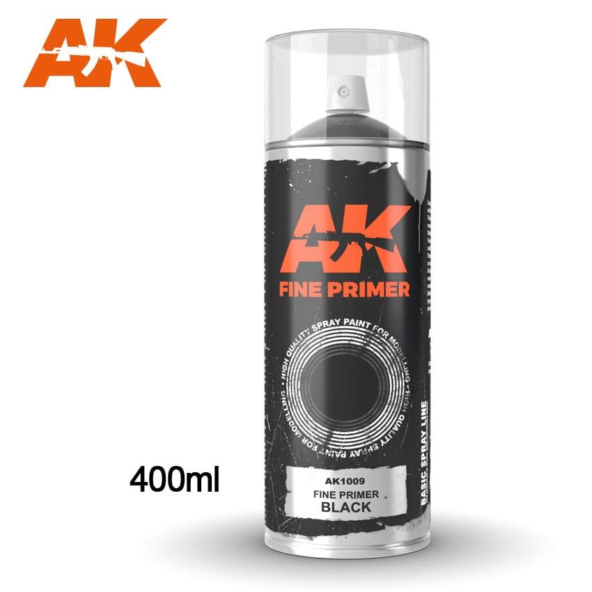 AK Interactive Fine Primer Black - Spray 400ml (Includes 2 nozzles)