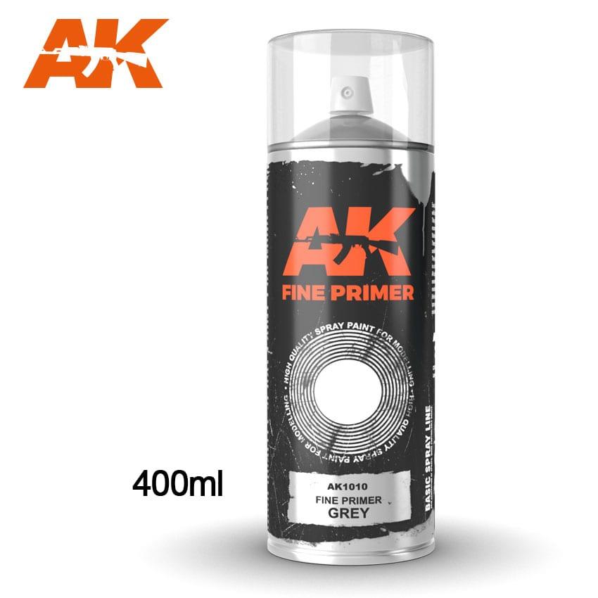 AK Interactive Fine Primer Grey - Spray 400ml (Includes 2 nozzles)