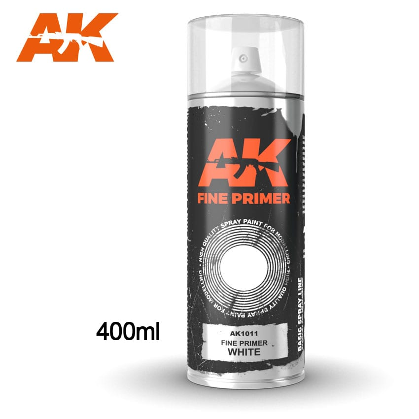 AK Interactive Fine Primer White - Spray 400ml (Includes 2 nozzles)