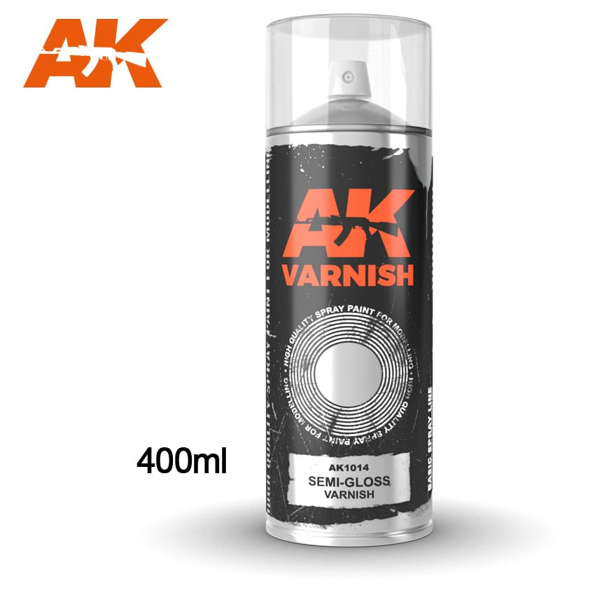 AK Interactive Semi-Gloss varnish - Spray 400ml (Includes 2 nozzles)