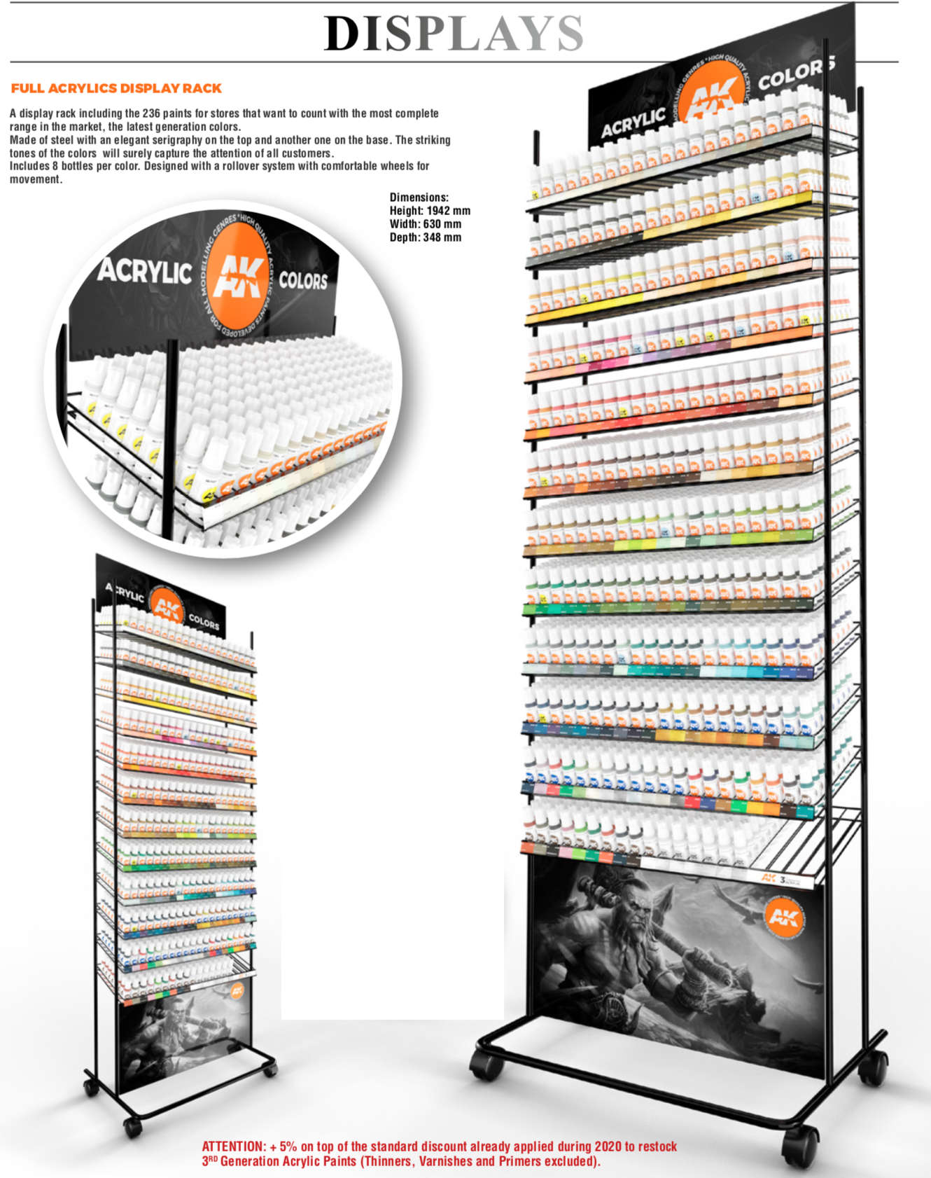 AK Interactive 3G Acrylics Rack (236 colors x 4 units)