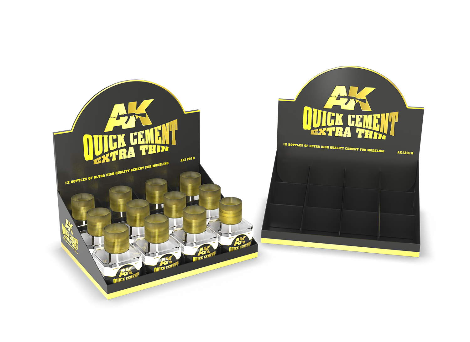 AK Interactive Quick Cement Extra Thin (12 Units) + Display Unit