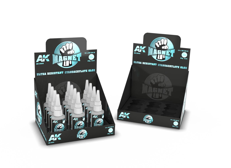 AK Interactive Magnet Cyanocrylate Glue (12 Units) + Display Unit