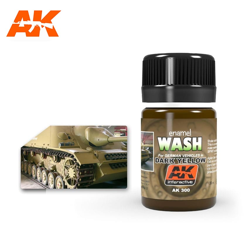 AK Interactive Wash For Dark Yellow Vehicles