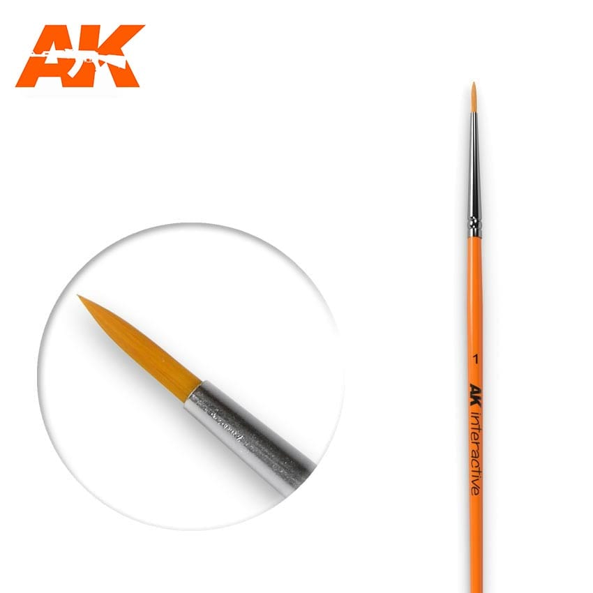 AK Interactive Round Brush 1 Synthetic