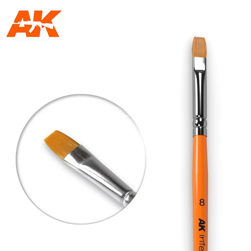AK Interactive Flat Brush 8 Synthetic