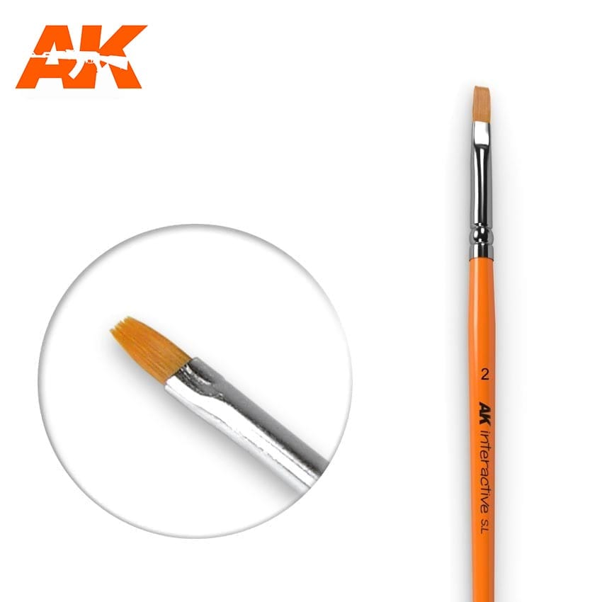 AK Interactive Flat Brush 2 Synthetic