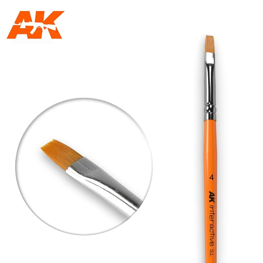 AK Interactive Flat Brush 4 Synthetic