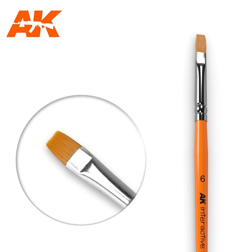 AK Interactive Flat Brush 6 Synthetic